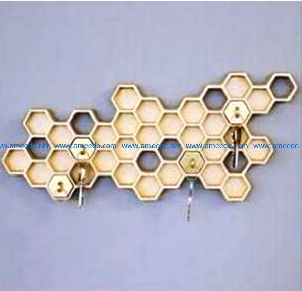 Honeycomb key holder file cdr and dxf free vector download