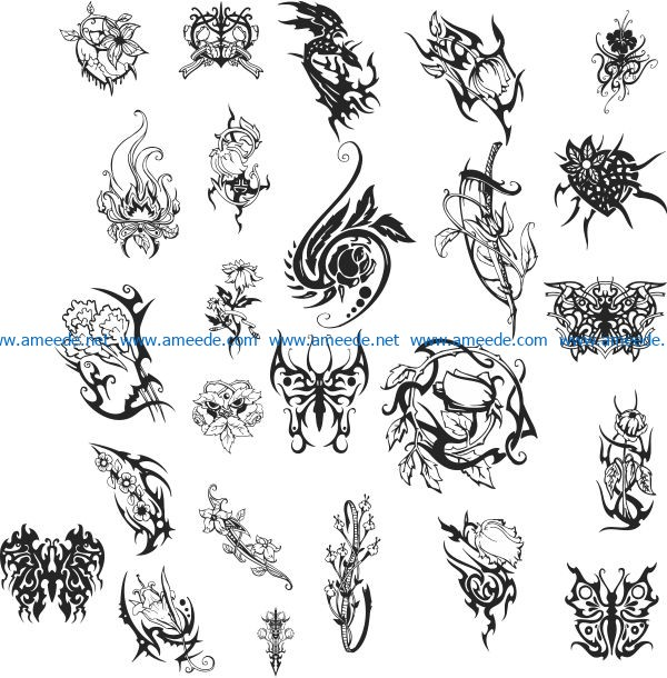 Horror flower tattoo file cdr and dxf free vector download for print or laser engraving machines