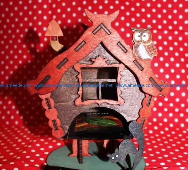 Horror house-shaped tea house file cdr and dxf free vector download for Laser cut