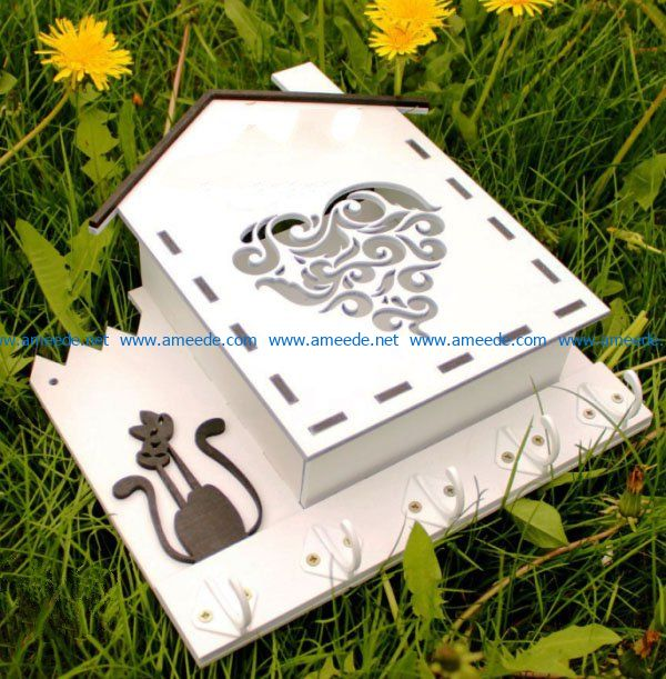 House-shaped gift box file cdr and dxf free vector download for Laser cut