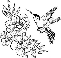 Hummingbirds with flowers file cdr and dxf free vector download for print or laser engraving machines