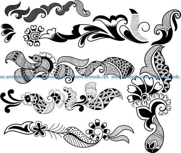 Indian decorative pattern file cdr and dxf free vector download for laser engraving machines D