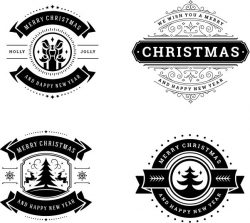 Merry Christmas banner file cdr and dxf free vector download for print or laser engraving machines