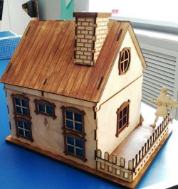 Model of house with chimney    file cdr and dxf free vector download for Laser cut