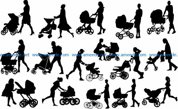 Mother and baby file cdr and dxf free vector download for Laser cut Plasma file Decal