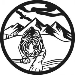 Mountain tiger file cdr and dxf free vector download for print or laser engraving machines