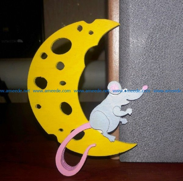 Mouse and piece of cheese file cdr and dxf free vector download for Laser cut