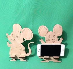 Mouse phone holder file cdr and dxf free vector download for Laser cut