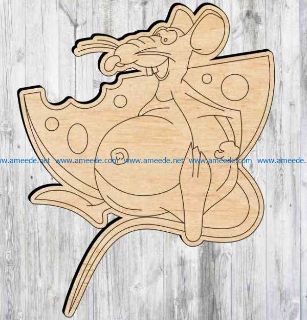 Mouse with cheese file cdr and dxf free vector download for Laser cut