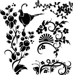 Murals of birds and butterflies in flower gardens  file cdr and dxf free vector download for print or laser engraving machines