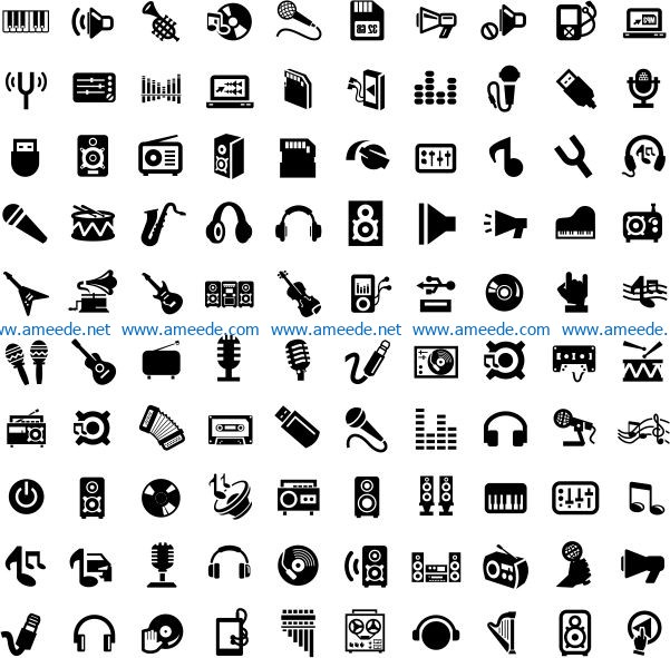 Music icon file cdr and dxf free vector download for print or laser engraving machines