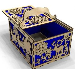 New Year's box file cdr and dxf free vector download for Laser cut