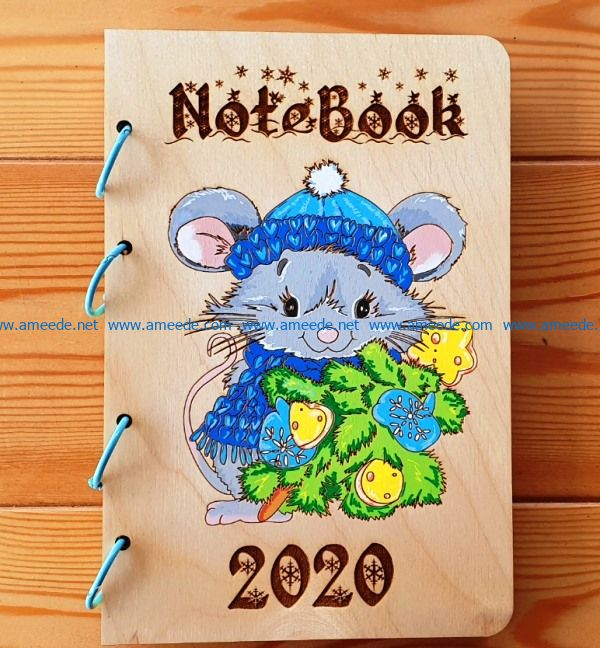 Note book with mouse file cdr and dxf free vector download for print or laser engraving machines