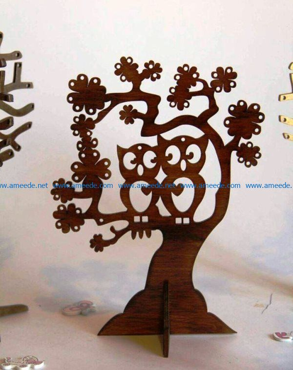 Owl tree file cdr and dxf free vector download for Laser cut