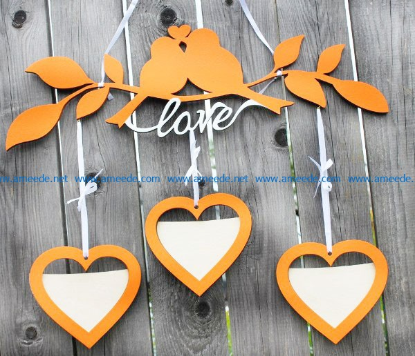 Photo frame of double birds on tree file cdr and dxf free vector download for Laser cut