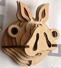 Pig head file cdr and dxf free vector download for Laser cut