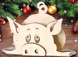 Pig napkin holder file cdr and dxf free vector download for Laser cut
