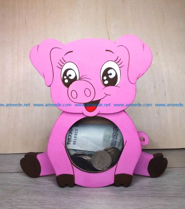 Piggy bank pig file cdr and dxf free vector download for Laser cut