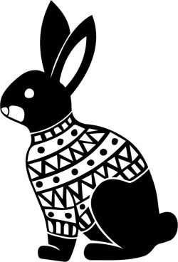 Rabbit with christmas file cdr and dxf free vector download for print or laser engraving machines