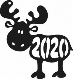 Reindeer 2020 file cdr and dxf free vector download for print or laser engraving machines