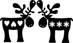 Reindeer with heart and snowflakes file cdr and dxf free vector download for Laser cut Plasma file Decal