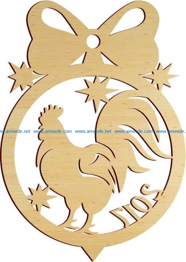 Rooster decorated christmas tree file cdr and dxf free vector download for Laser cut