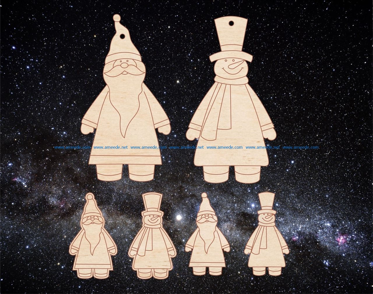Santa and the snowman file cdr and dxf free vector download for Laser cut