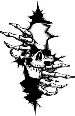 Skull in the wall file cdr and dxf free vector download for print or laser engraving machines