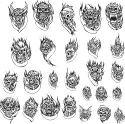 Skull tattoo file cdr and dxf free vector download for print or laser engraving machines