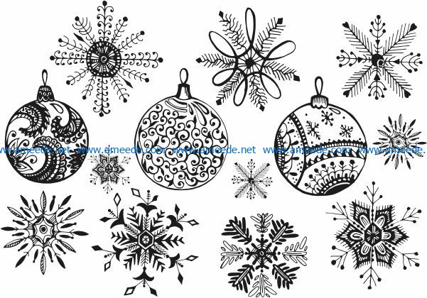 Snowflakes decorated christmas tree file cdr and dxf free vector download for Laser cut