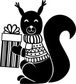 Squirrel with christmas file cdr and dxf free vector download for print or laser engraving machines