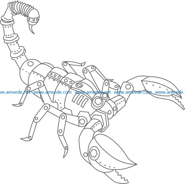 Steampunk Scorpion file cdr and dxf free vector download for print or laser engraving machines