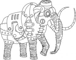 Steampunk elephants file cdr and dxf free vector download for print or laser engraving machines