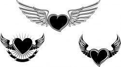 Symbol of heart and wings file cdr and dxf free vector download for print or laser engraving machines