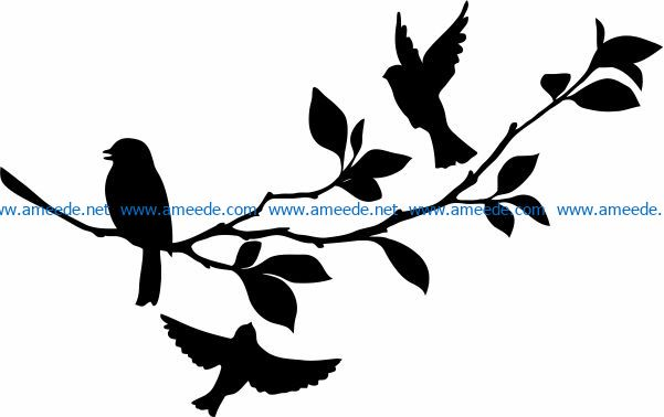 Three birds with tree branches file cdr and dxf free vector download for print or laser engraving machines