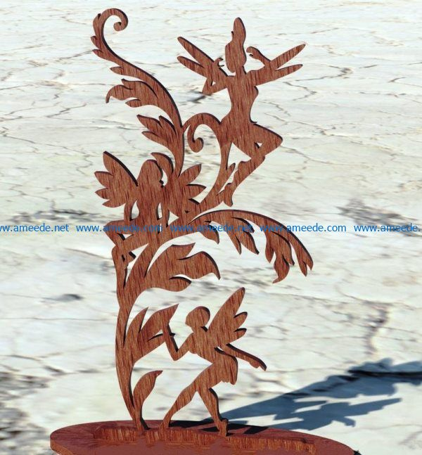 Three fairies file cdr and dxf free vector download for Laser cut