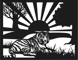 Tiger under the sun file cdr and dxf free vector download for print or laser engraving machines