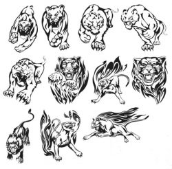 Tigers and lions file cdr and dxf free vector download for print or laser engraving machines