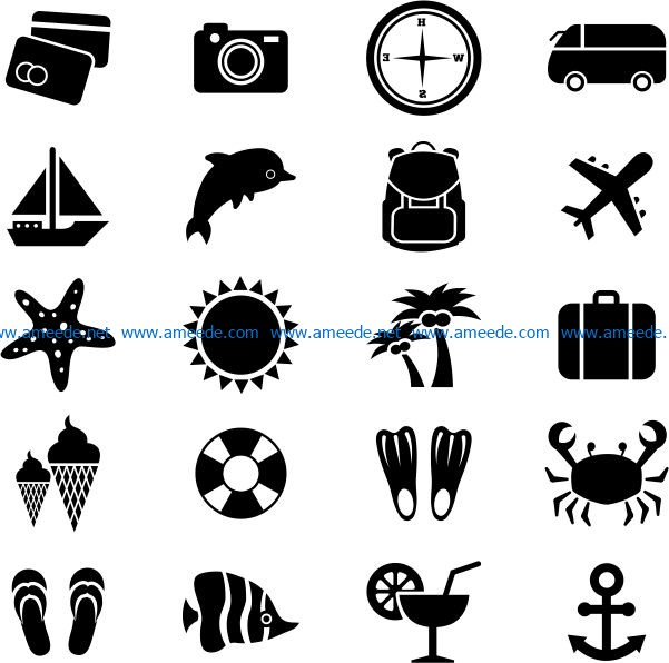 Travel icon file cdr and dxf free vector download for print or laser engraving machines