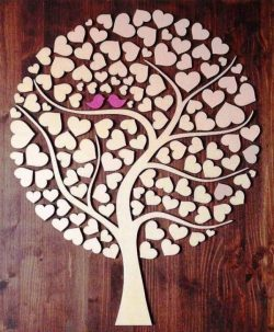Tree Of Hearts file cdr and dxf free vector download for Laser cut