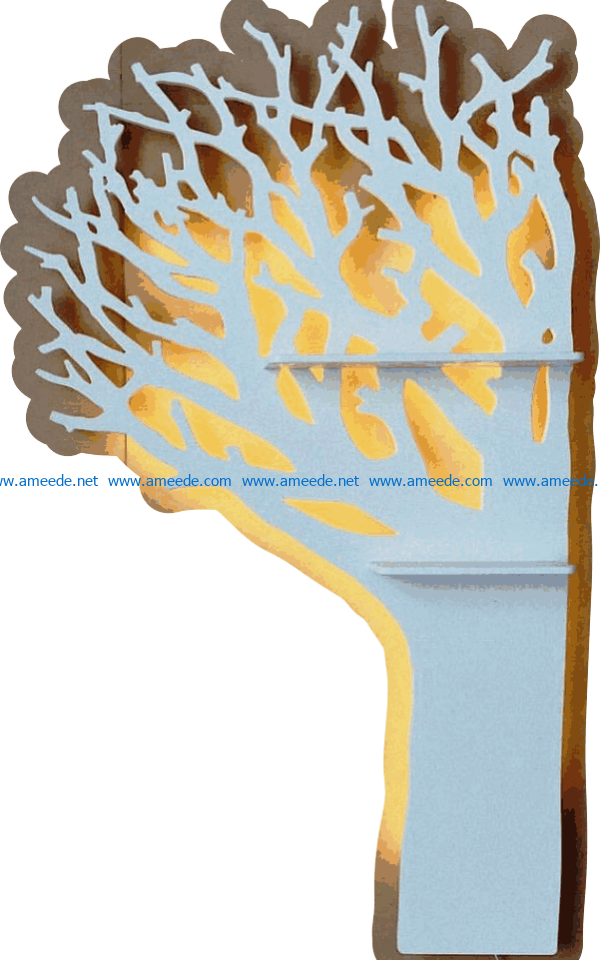 Tree-shaped shelves file cdr and dxf free vector download for Laser cut CNC