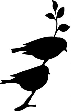 Two birds on a tree branch  file cdr and dxf free vector download for print or laser engraving machines