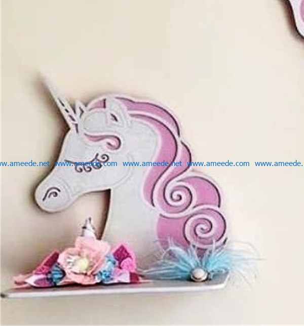 Unicorn Sheaclf file cdr and dxf free vector download for Laser cut
