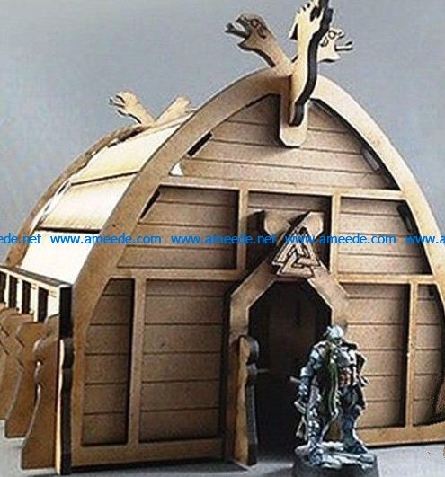 Viking house file cdr and dxf free vector download for Laser cut