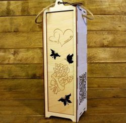 Wedding wine box file cdr and dxf free vector download for Laser cut
