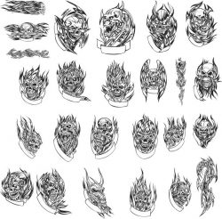 Weird skull tattoo file cdr and dxf free vector download for print or laser engraving machines