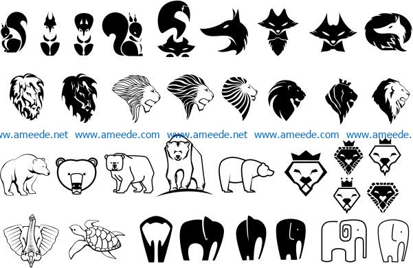 Wild animals file cdr and dxf free vector download for print or laser engraving machines