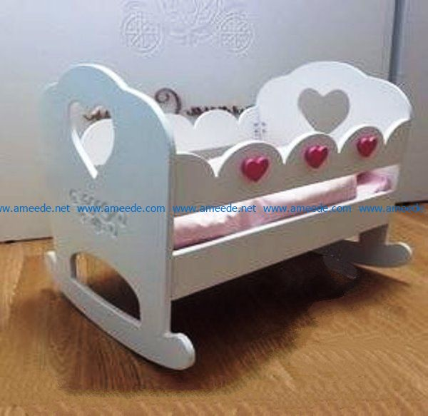 Wooden Baby crib file cdr and dxf free vector download for Laser cut CNC