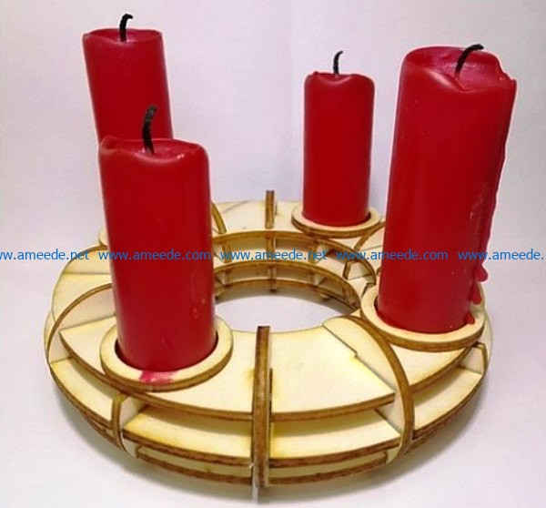Wooden Candle holder file cdr and dxf free vector download for Laser cut