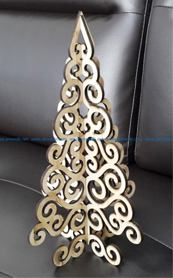 Wooden Christmas tree file cdr and dxf free vector download for Laser cut